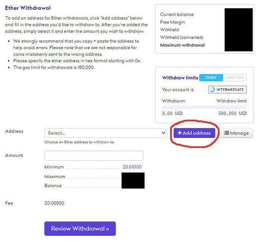 Screenshot ETH Adresse erstellen