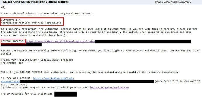 Screenshot EMail-Bestätigung