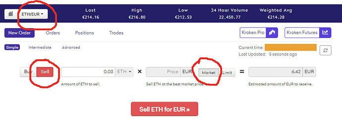 Screenshot ETH verkaufen