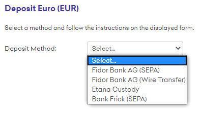 Screenshot DEPOSIT Euro